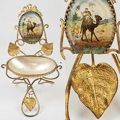 Antique French Mother of Pearl & Ormolu Watch Stand,  Painted Eglomise Camel