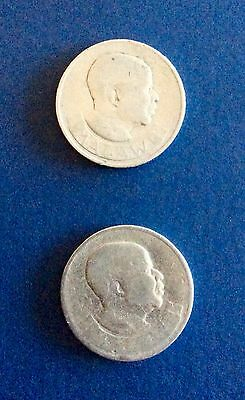 Two, Malawi One Florin Coins 1964 Elephant and Calf