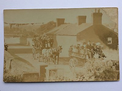 vintage postcard, Carriages, unknown village, rp, early view