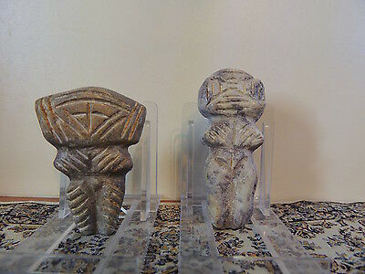 Couple of Antique Stone Figures statuettes,mother godess,fertility alien,idols