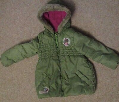 M&S INDIGO Girls Green Fur Trim Hooded Padded Winter Parka Jacket Coat 3-4 YEARS