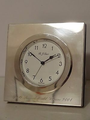 R.j. Carr Solid Silver Alarm Clock With Stand P&o Aurora World Cruise 2001 Rj