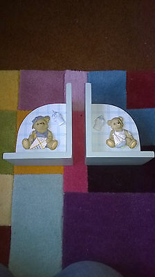 Baby Boy Blue wooden book ends