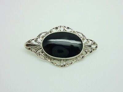Gorgeous Vintage Sterling Silver Onyx Ornate Antique Style Brooch