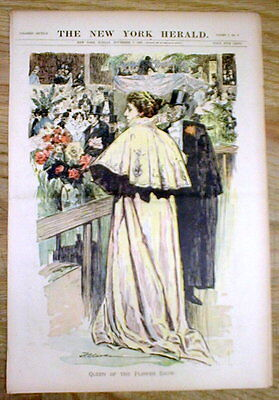 1897 NEW YORK CITY newspaper Poster COLOR ENGRAVING Victorian Flower Show