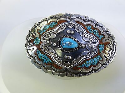 Sterling Silver Turquoise And Red Coral Belt Buckle