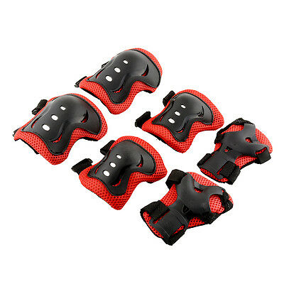 Kid Roller Skating Knee Elbow Wrist Protective Guard Pad Gear Red&Black New