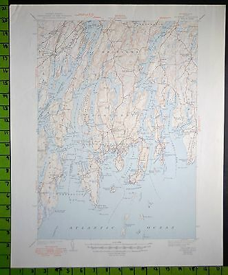 Boothbay Harbor Maine 1949 Antique USGS Topographic Map 17x21