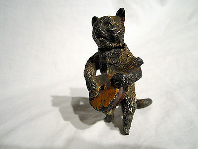 An Antique Cast Iron Cat Playing Lute Could Be A Perfume Bottle?