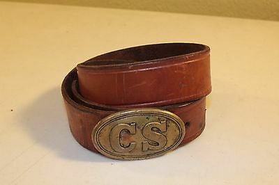 Reproduced CS Confederate Belt Buckle Brass + Brown Leather Belt 33