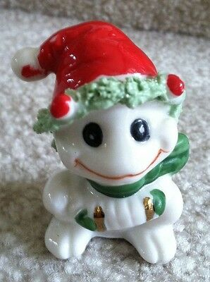 Vintage Bone China Miniature Xmas Frog With Accordian Figurine Spaghetti Trim