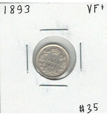Canada 1893 Silver 5 Cents VF+