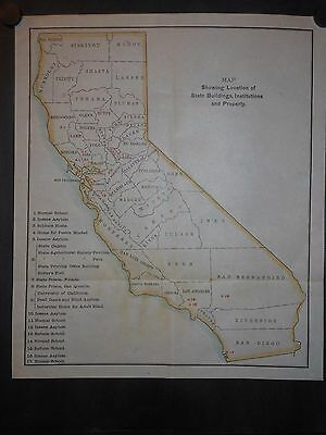 California 1899 Map Hand Colored Counties State Buildings Institutions Schools