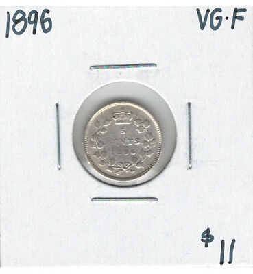 Canada 1896 Silver 5 Cents VG-F