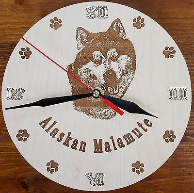 Round Wooden custom Engraved Alaskan Malamute DOG Wall Clock with your dog Name