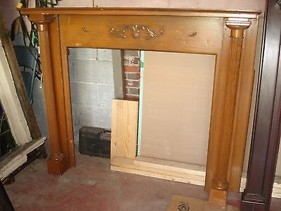 Antique Double Fluted Column Victorian Fireplace mantle Oak