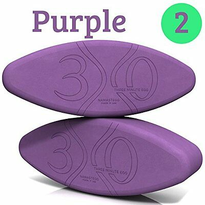 Yoga Block Travel Set - Made in USA - 2 Yoga Eggs - Purple - by Three Minute Egg