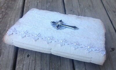 Handmade journals / handmade paper, vintage fabric, pearls - vintage wedding 08