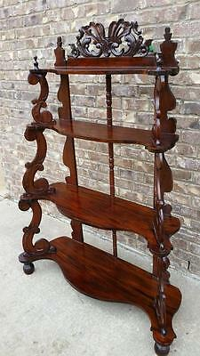 Large Antique Solid Mahogany ETAGERE 4 Knick Knack Shelves Carved Wood WHATNOT