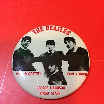 """Vintage The Beatles  Pin Back Button Badge 3 1/2"""" Group Pose"""