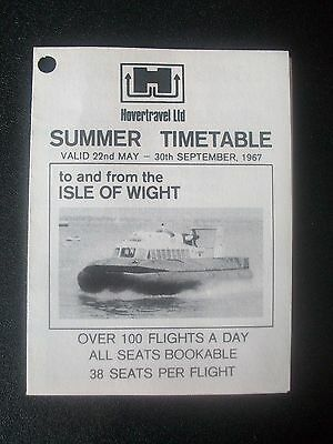 Hovercraft Summer Timetable Hovertravel Ltd isle Of Wight 1967