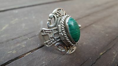 Vintage Sterling Silver 925 Mexico Malachite Poison Adjustable Ring Size 7