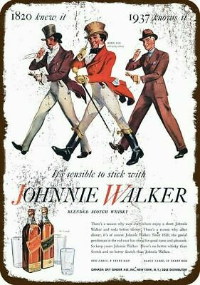 1937 JOHNNIE WALKER Scotch Whisky Vintage Appearance Replica Metal Sign