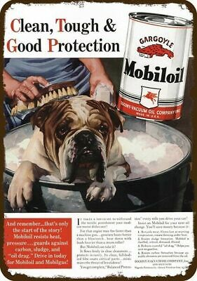 1940 MOBILOIL Vintage Appearance Replica Metal Sign - ENGLISH BULLDOG DOG & BATH