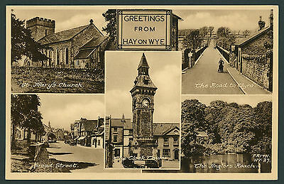 Hay on Wye Multiview postcard by Frith. Breconshire