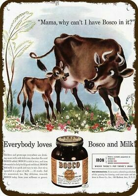 1941 BOSCO CHOCOLATE MILK Vintage Look Replica Metal Sign - MAMA COW & CALF