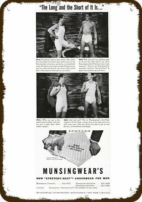 1941 MUNSINGWEAR Men's Underwear Vintage Look Metal Sign LONG & SHORT PHIL & BOB