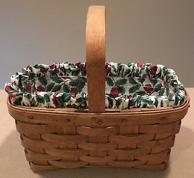 Longaberger 1986 Berry Basket Combo Holly Liner & Protector -Great!