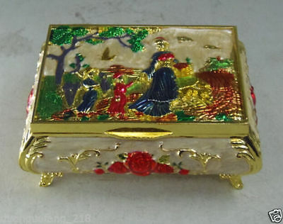 chinese handwork cloisonne miao silver jewelry box carved woman outing