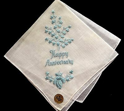 NASHARR Made in Switzerland Lovely Embroidery Floral Motif Handkerchief