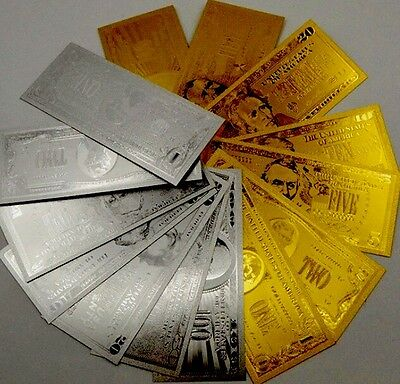 24Kt Gold Leaf And .999 Pure Silver  Leaf Us Banknote Lots (14 Pieces).  Sale L1