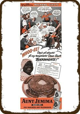 1942 AUNT JEMIMA Pancakes Vintage Look Replica Metal Sign JUS' MELT IN YO' MOUTH