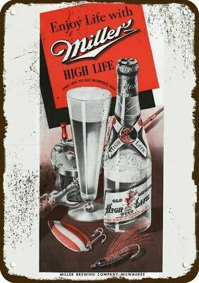 1942 MILLER HIGH LIFE BEER Vintage Look Replica Metal Sign FISHING LURE ROD REEL