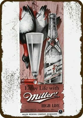 1942 MILLER HIGH LIFE BEER Vintage Look Replica Metal Sign -DUCK & SHOTGUN SHELL