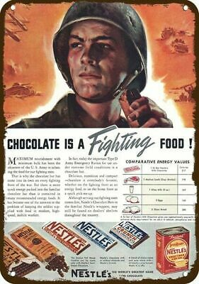 1942 NESTLE Vintage Appearance Replica Metal Sign - CHOCOLATE IS FIGHTING FOOD