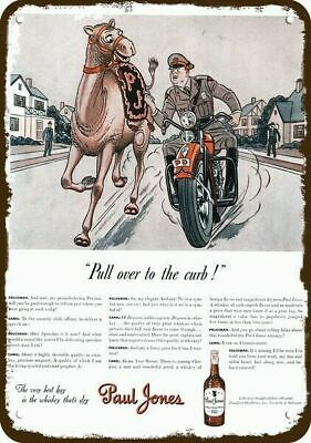 1942 PAUL JONES Whiskey Vintage Look Replica Metal Sign MOTORCYCLE COP & CAMEL