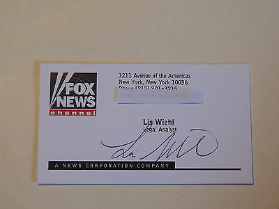Lis Wiehl - FOX News Channel Legal Analyst - Autographed Business Card