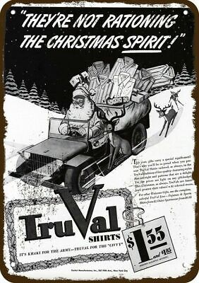 1942 TRUVAL SHIRTS Vintage Look Replica Metal Sign SANTA CLAUS & REINDEER & JEEP