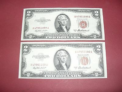 2 Cons 1953A Two Dollar Bill United States Legal Tender Red Seal Notes
