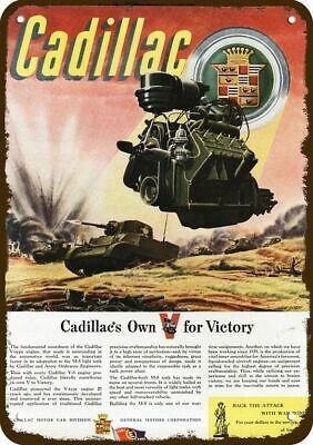 1943 CADILLAC M-5 WWII TANK w/ V-8 Engine Vintage Look Replica Metal Sign