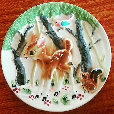Incredible Vintage 1950s MINT 3D Retro Bambi Wall Plate Japan Kitsch Rare
