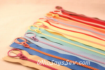 Funky Contrasting Plastic Moulded Chunky Zipper/Zip in 20cm/30cm. 10 Colours. AU