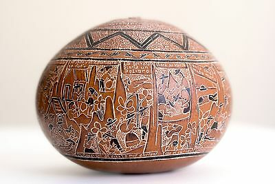 Vintage Peruvian Art Carved Small Gourd - Museum Quality