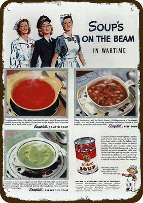 1944 CAMPBELL'S SOUP Vintage Look Replica Metal Sign - WAC - WWII WOMEN NURSE