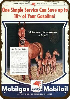 1944 MOBILGAS MOBILOIL Vintage Look Replica Metal Sign HORSE & FOALS PONY