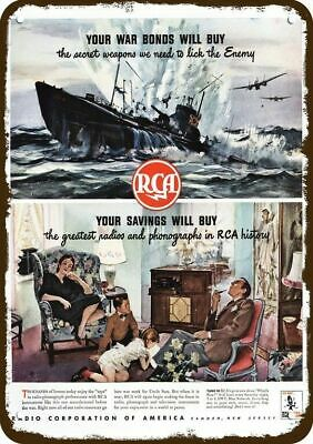 1944 RCA Vintage Appearance Replica Metal Sign - NAVY SINKS JAPANESE SUBMARINE